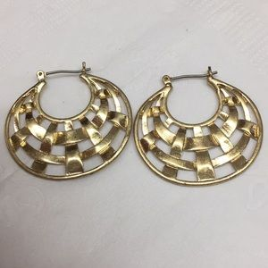 Gold Tone Woven Hoop Pierced Earrings